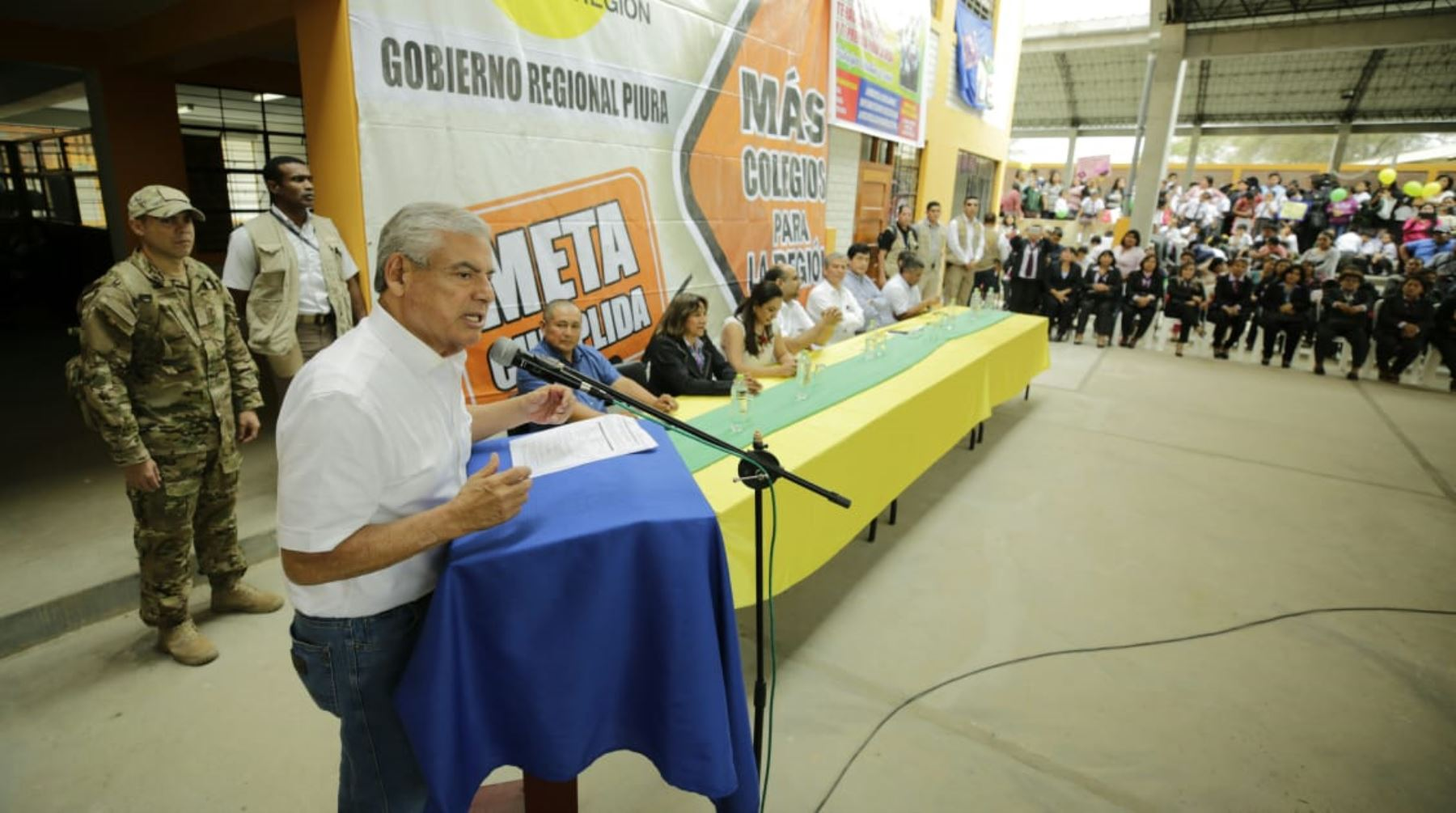 El jefe del Gabinete Ministerial, César Villanueva, participa de una nueva edición del Muni Ejecutivo en la región Piura, junto a autoridades ediles locales y provinciales. Foto: ANDINA/PCM