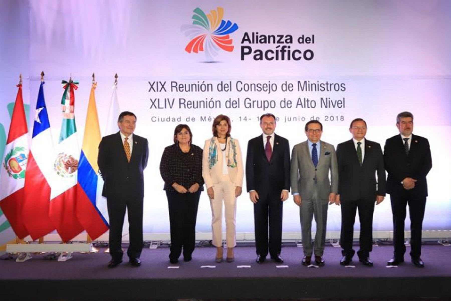 Consejo de Ministros de la Alianza del Pacífico tras reunión en Ciudad de México. Foto: Difusión.