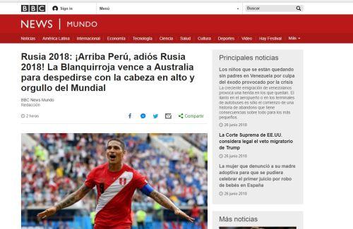 Prensa del mundo destaca triunfo del Perú en despedida del mundial Rusia 2018. Ganó 2 -0 a Australia