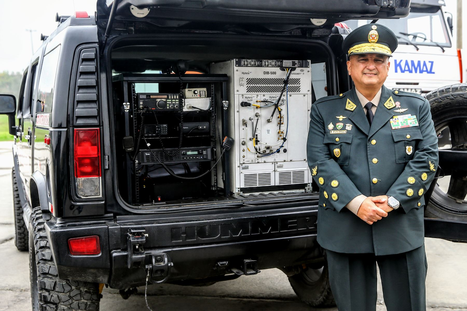 Director general de la Policía Nacional Richard Zubiate, presenta Centro de Comunicaciones Móvil de la PNP en la feria Innova - 2018 que organiza el Ejército del Perú. ANDINA/Luis Iparraguirre
