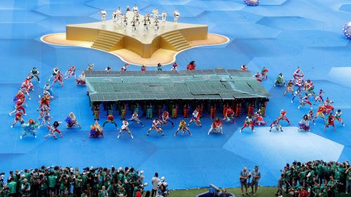 Ceremonia de clausura del Mundial de Rusia 2018 , antes del partido Francia-Croacia