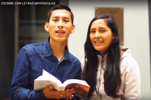 Estudiantes de San Marcos graban spot sobre identidad nacional y el amor por las letras. Foto: ANDINA/Difusión.