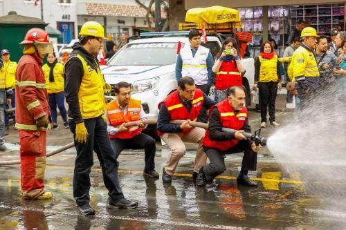 Municipalidad de Lima realizó simulacro de incendio en el Mercado Central. Foto: ANDINA/Difusión.