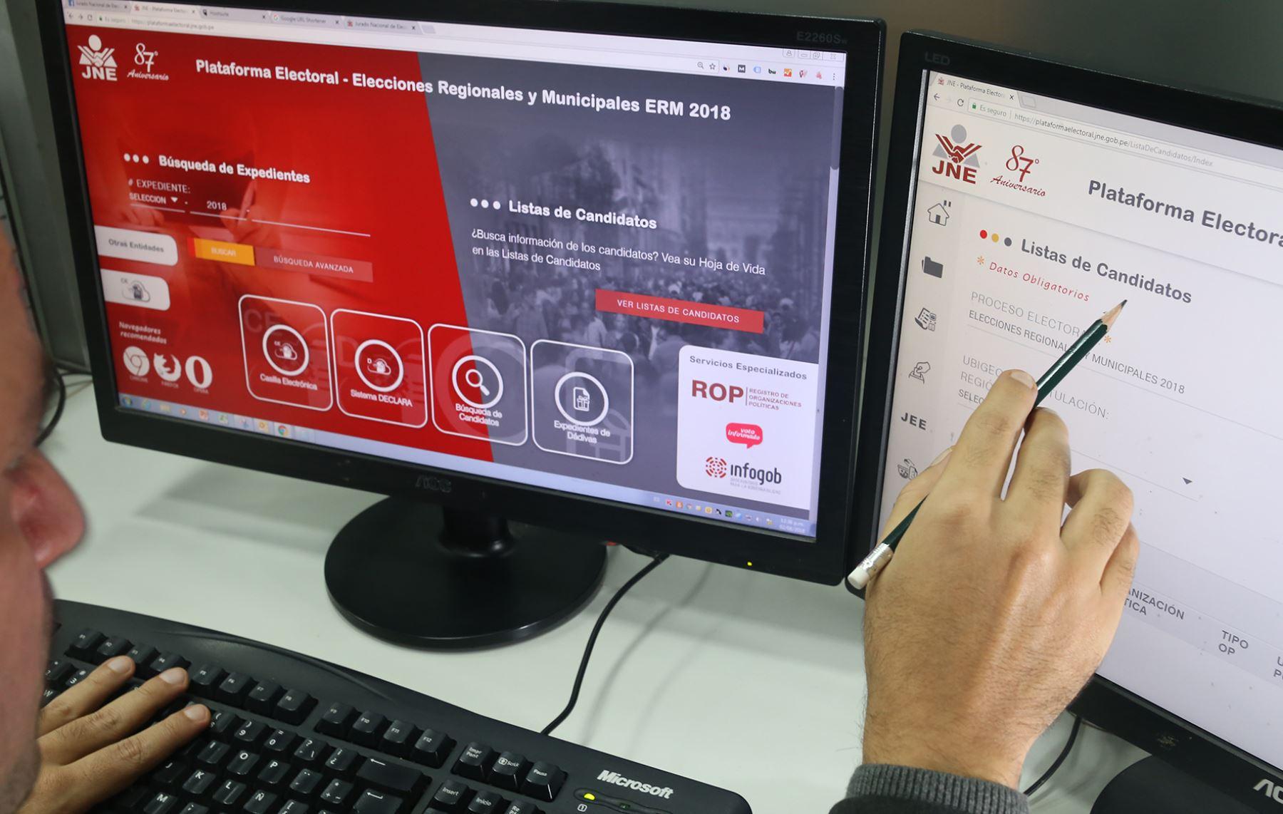 El 80% de listas de candidatos en La Libertad para las elecciones municipales y regionales ya están inscritas. ANDINA/Difusión
