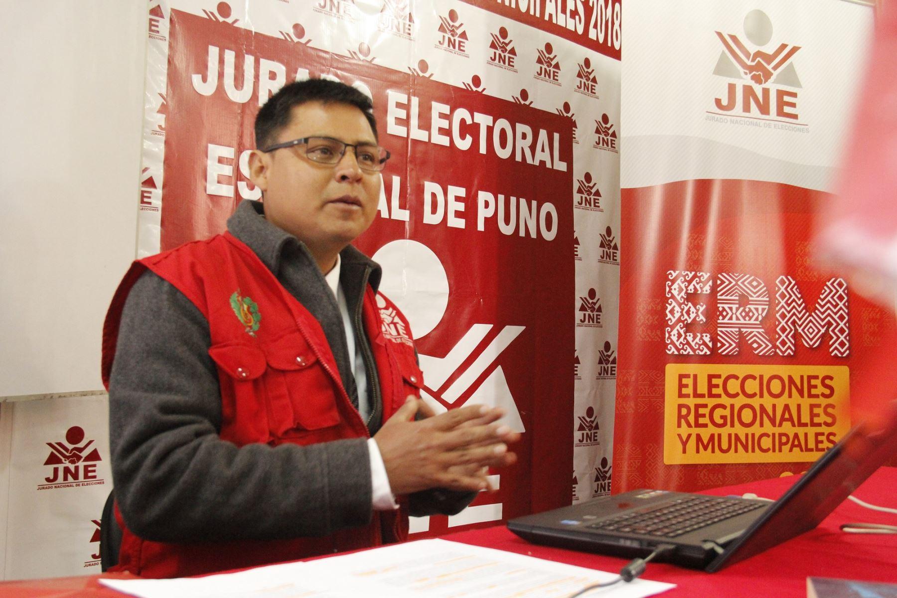 Seis listas de candidatos regionales inscritas en Puno, informó el Jurado Electoral Especial. ANDINA