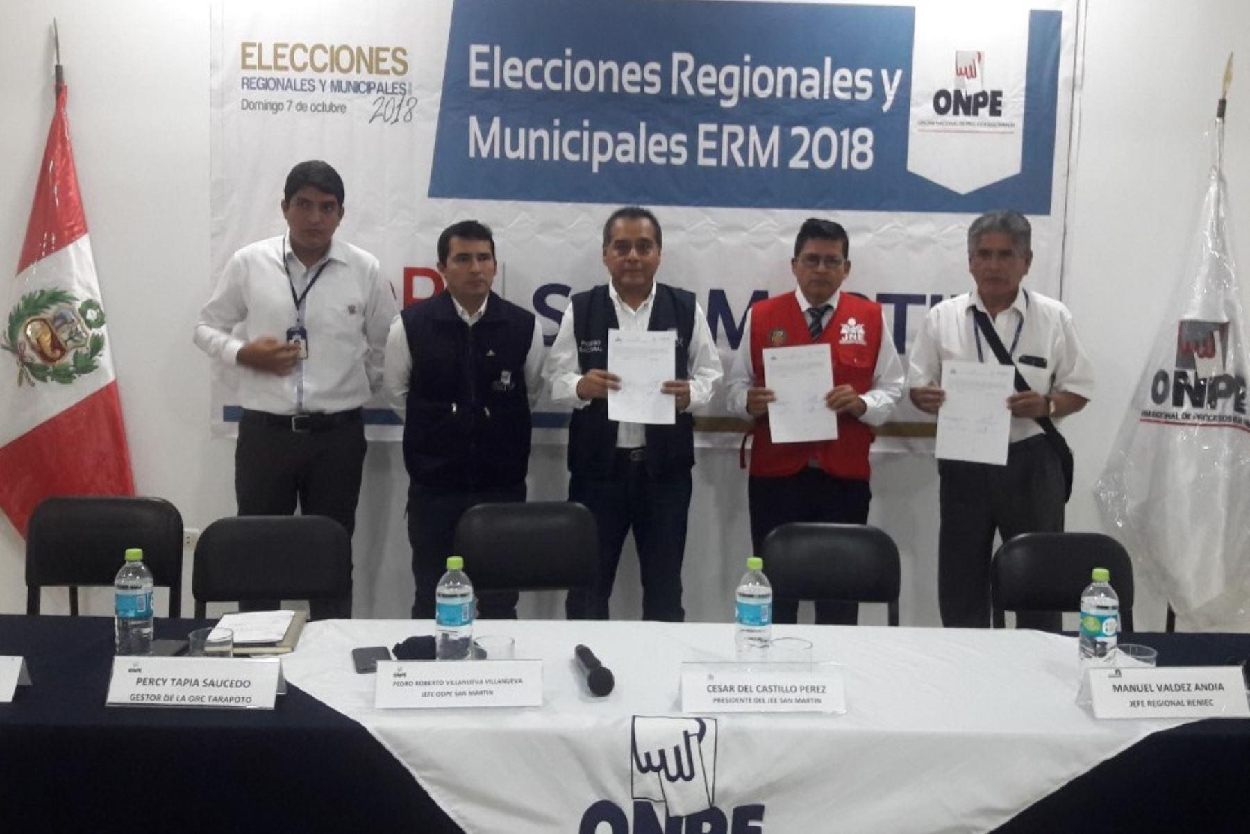 Ocho listas postulan al Gobierno Regional de San Martín. ANDINA