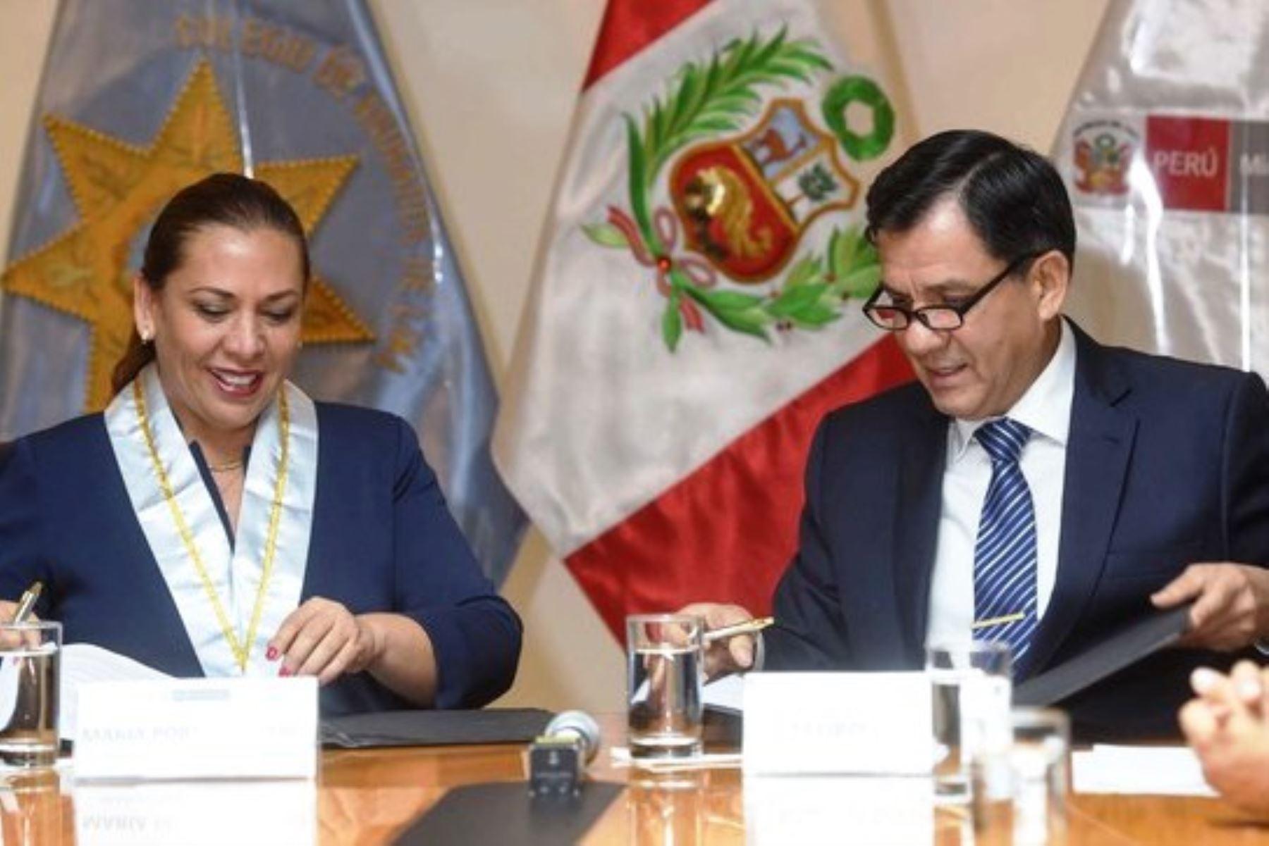 Convenio suscrito entre el Mininter y el CAL. Foto: ANDINA/Difusión.
