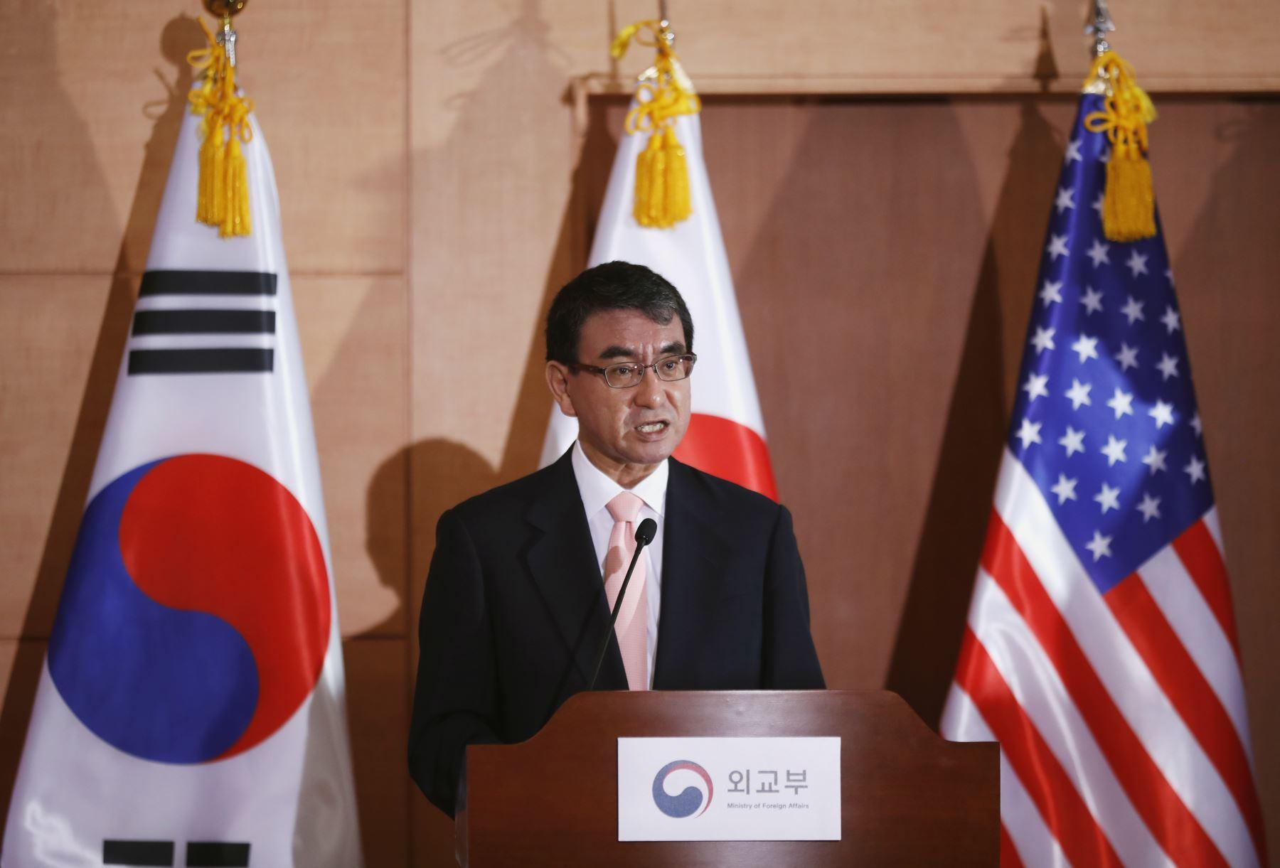 Taro Kono, canciller de Japón. AFP