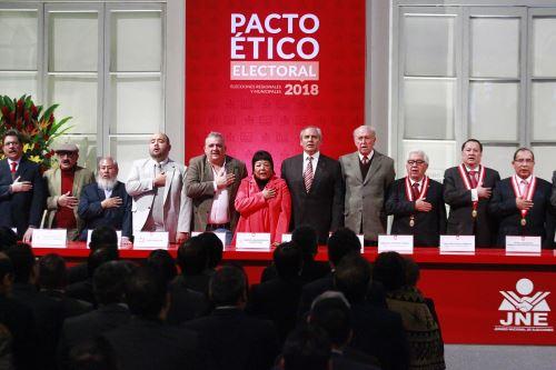 Partidos Políticos firman Pacto Etico Electoral del JNE