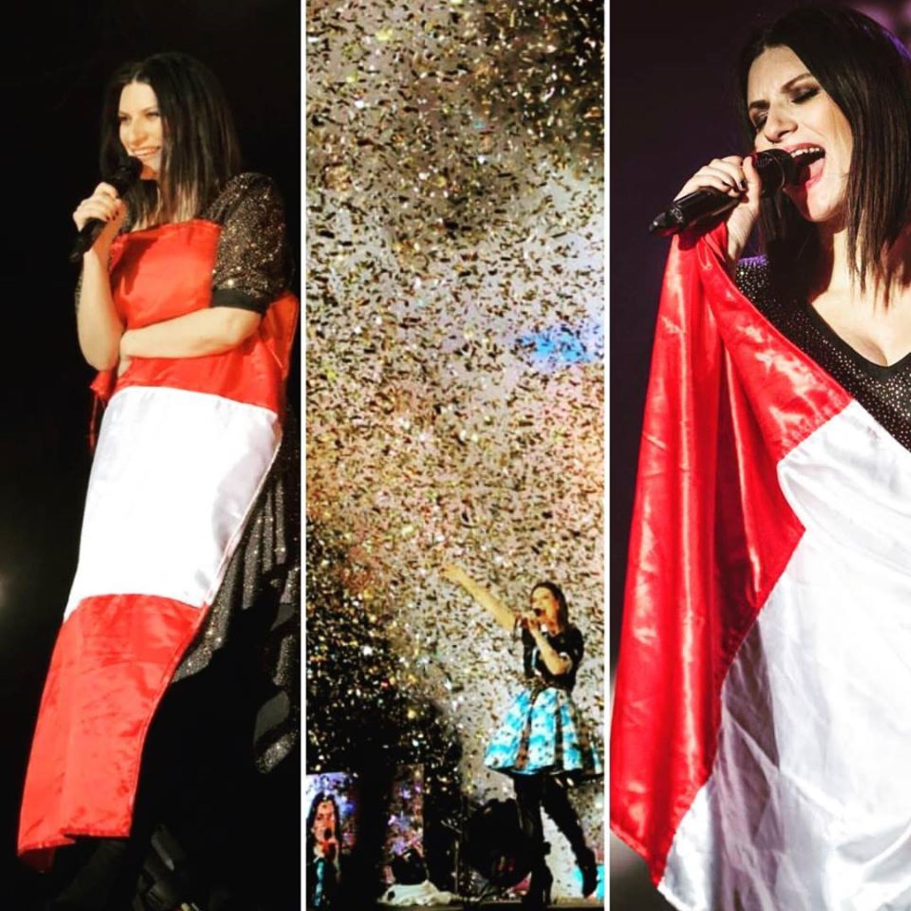 Laura Pausini no dudó en abrazar la Bandera peruana como señal de agradecimiento al pueblo peruano.