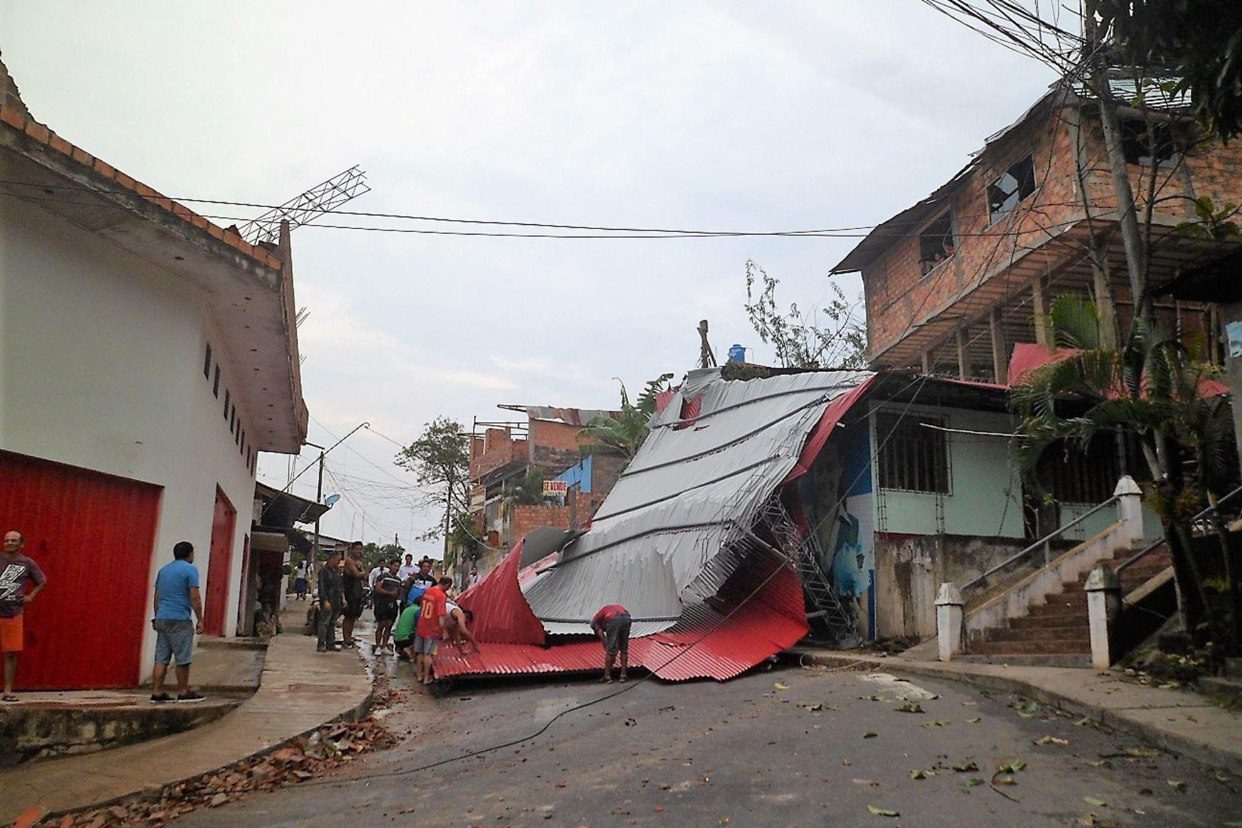 Granizo y vientos fuertes causan estragos en Tarapoto. Foto: ANDINA.