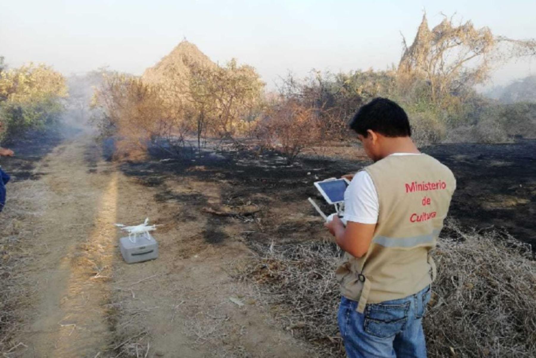 Dron y GPS contribuirá a extinción de incendio en Bosque de Pómac