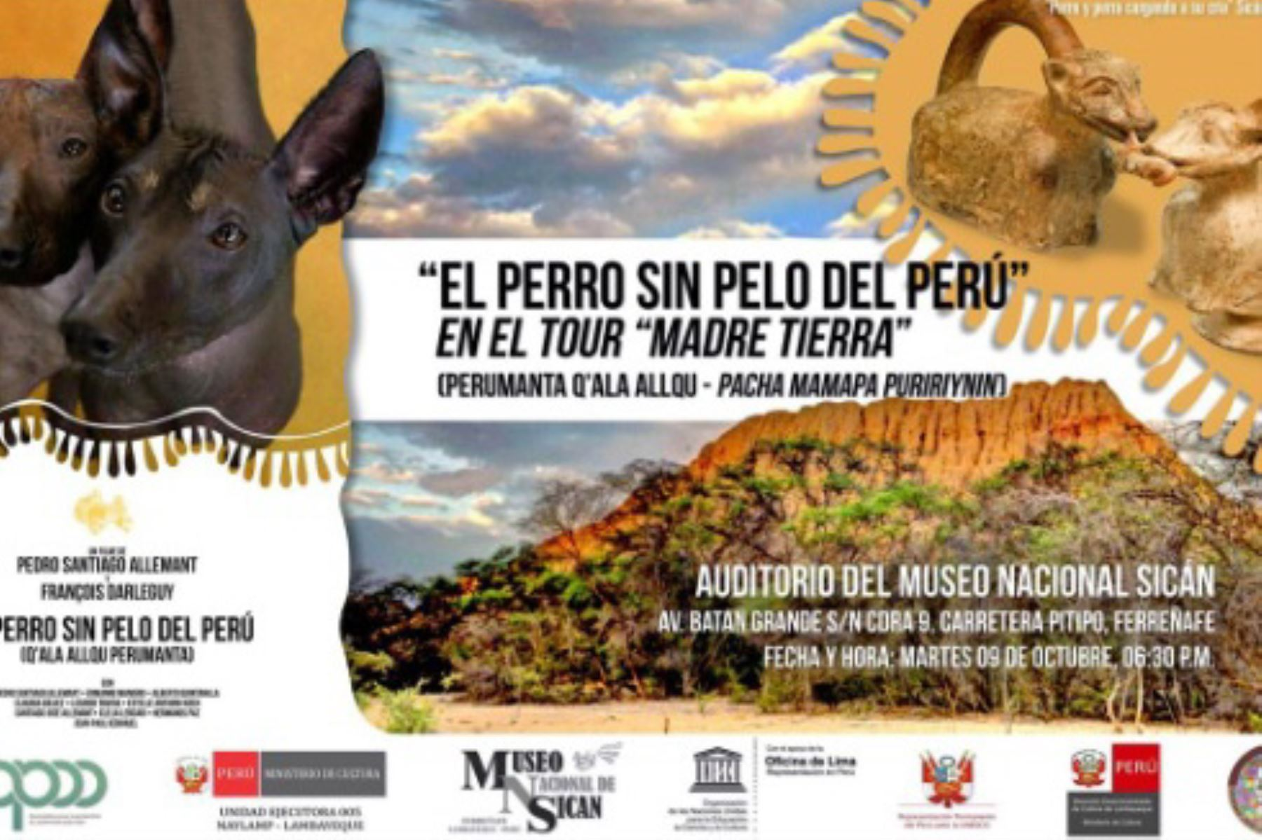 """En el Museo Nacional Sicán, ubicado en la región Lambayeque, proyectarán el filme """"El perro sin pelo del Perú""""."""