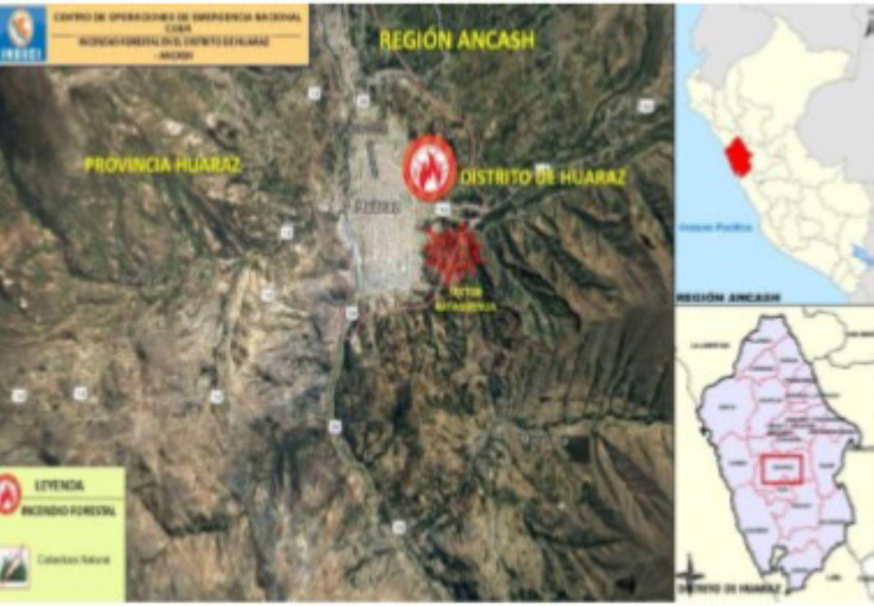 Incendio forestal registrado en el sector Rataquenua, provincia de huaraz, región Áncash, fue sofocado por bomberos y miembros de serenazgo.