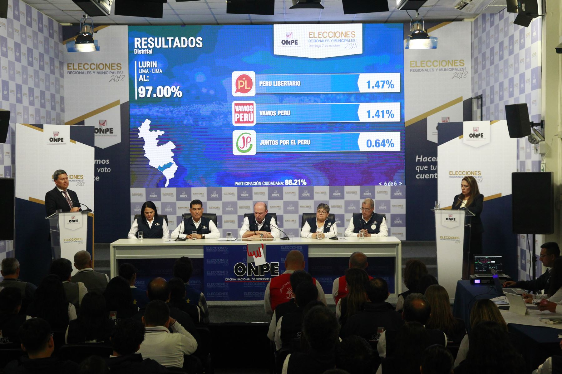 ONPE presenta resultados de conteo de votos regionales. ANDINA/Eddy Ramos