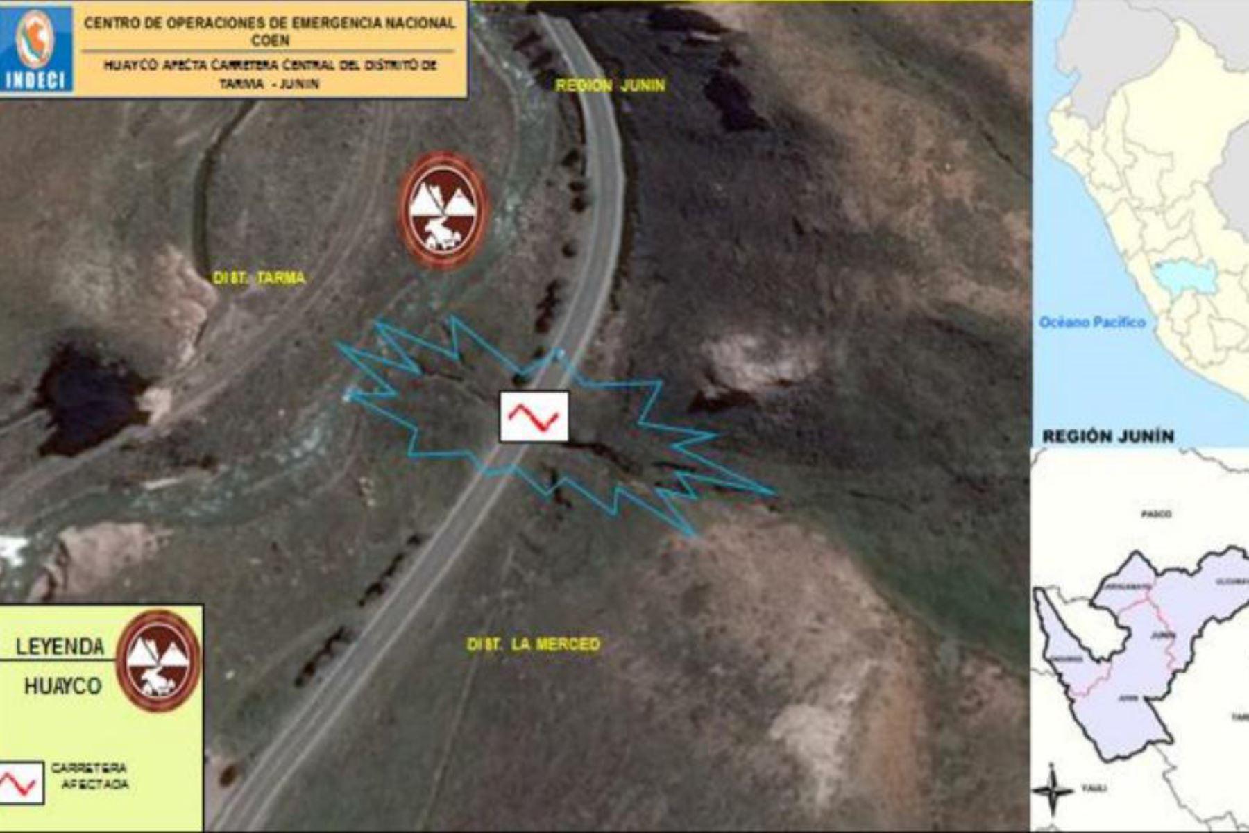 Tránsito en el kilómetro 71 de la carretera Central, tramo Tarma-La Merced, fue reabierto parcialmente hoy, informó el MTC,