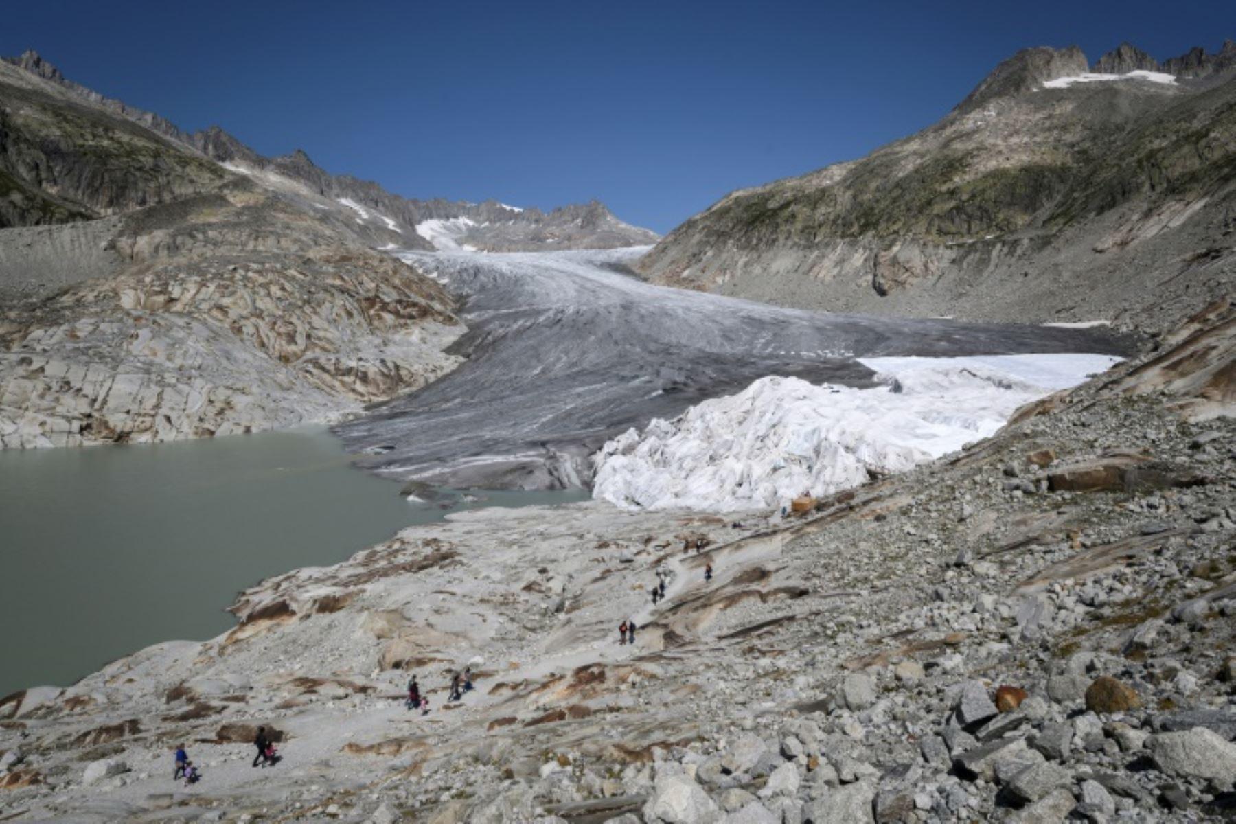 Glaciar del Ródano, en Suiza, el 28 de agosto de 2018. Foto: AFP