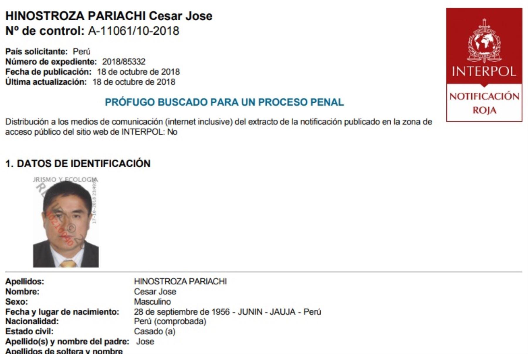 Interpol activa Notificación roja para la búsqueda y detención de exjuez César Hinostroza.