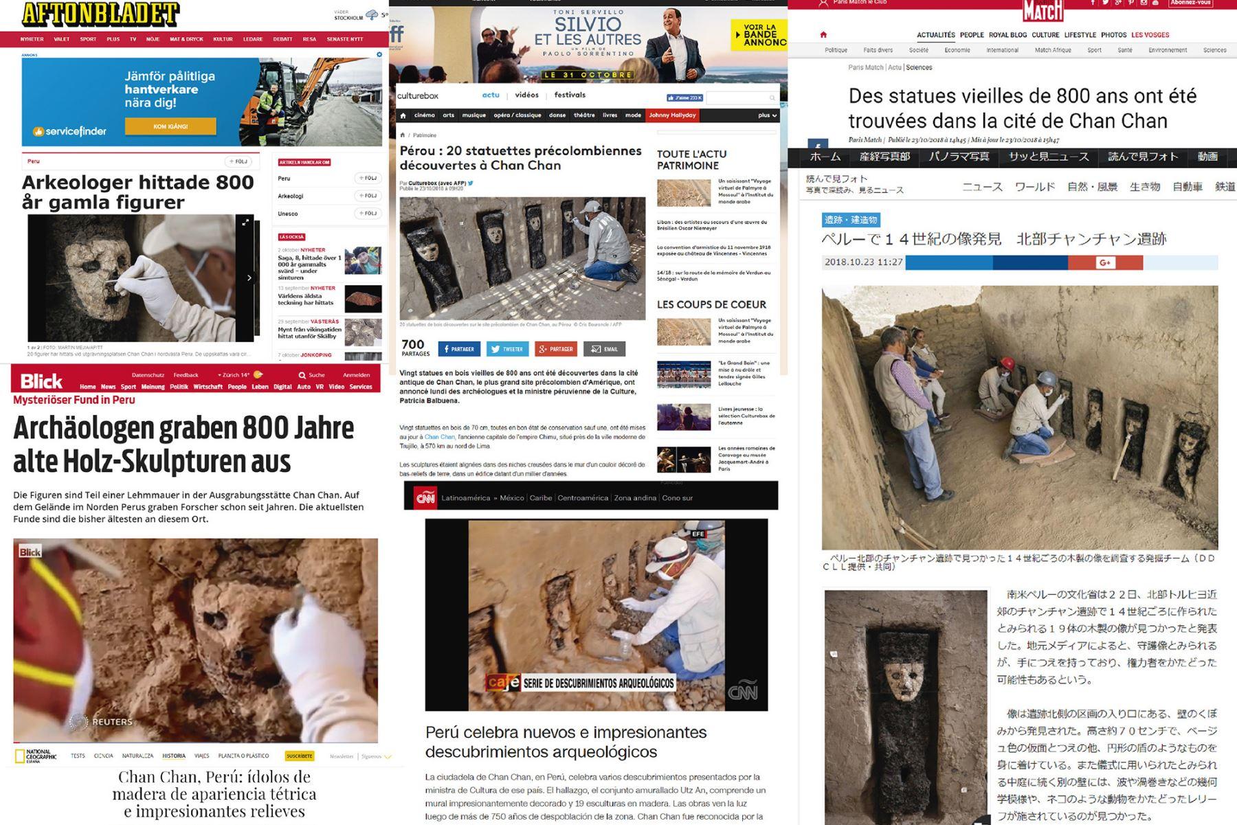 Importanes medios de comunicación del mundo destacan hallazgos en Chan Chan. Foto: ANDINA.