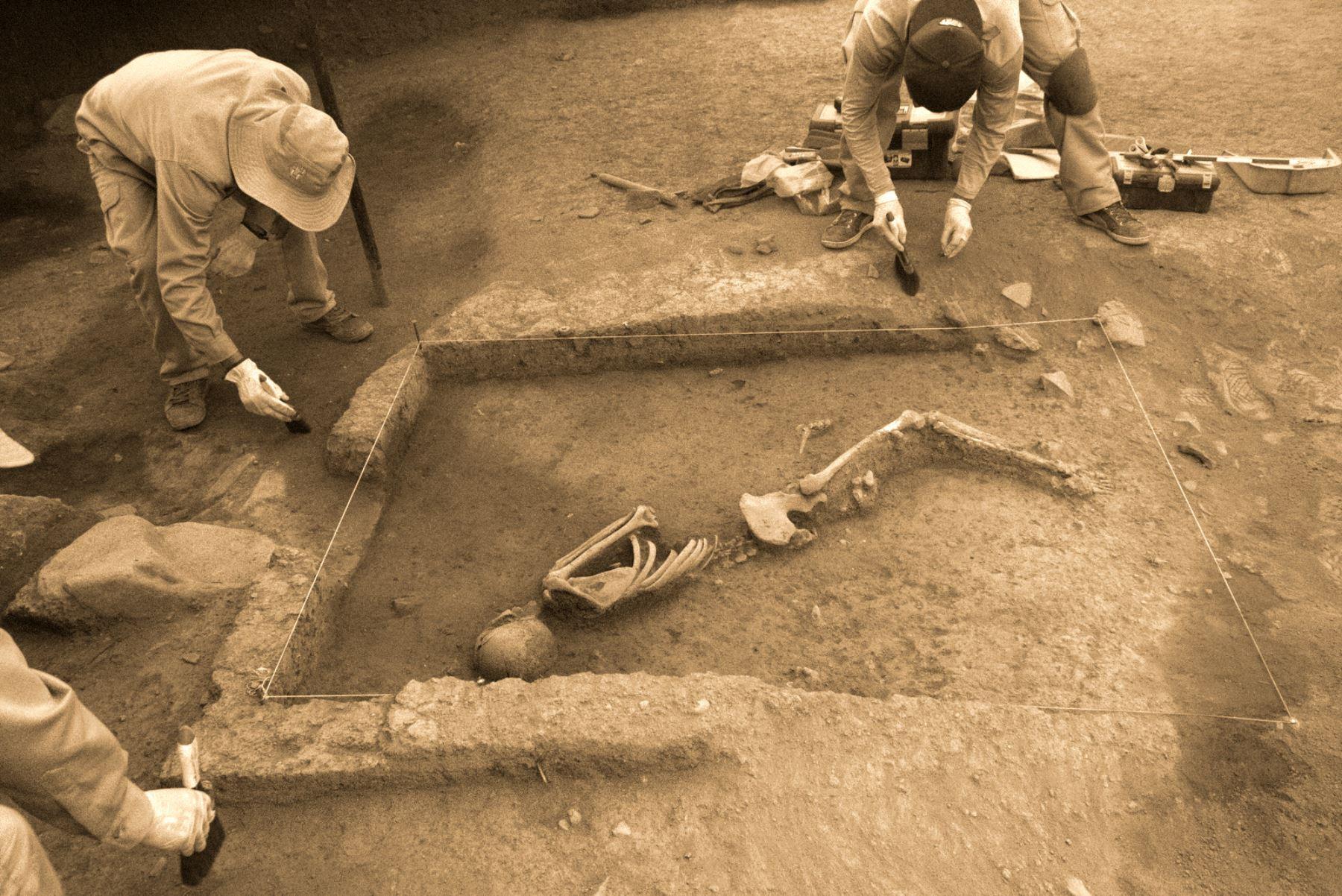 Dos entierros humanos que datan de hace 3 mil años fueron hallados recientemente por especialistas de la Dirección Desconcentrada de Cultura de Cusco (DDCC) en la zona arqueológica de Marcavalle, ubicado en el corazón de la ciudad del Cusco. Foto: ANDINA/Percy Hurtado Santillán