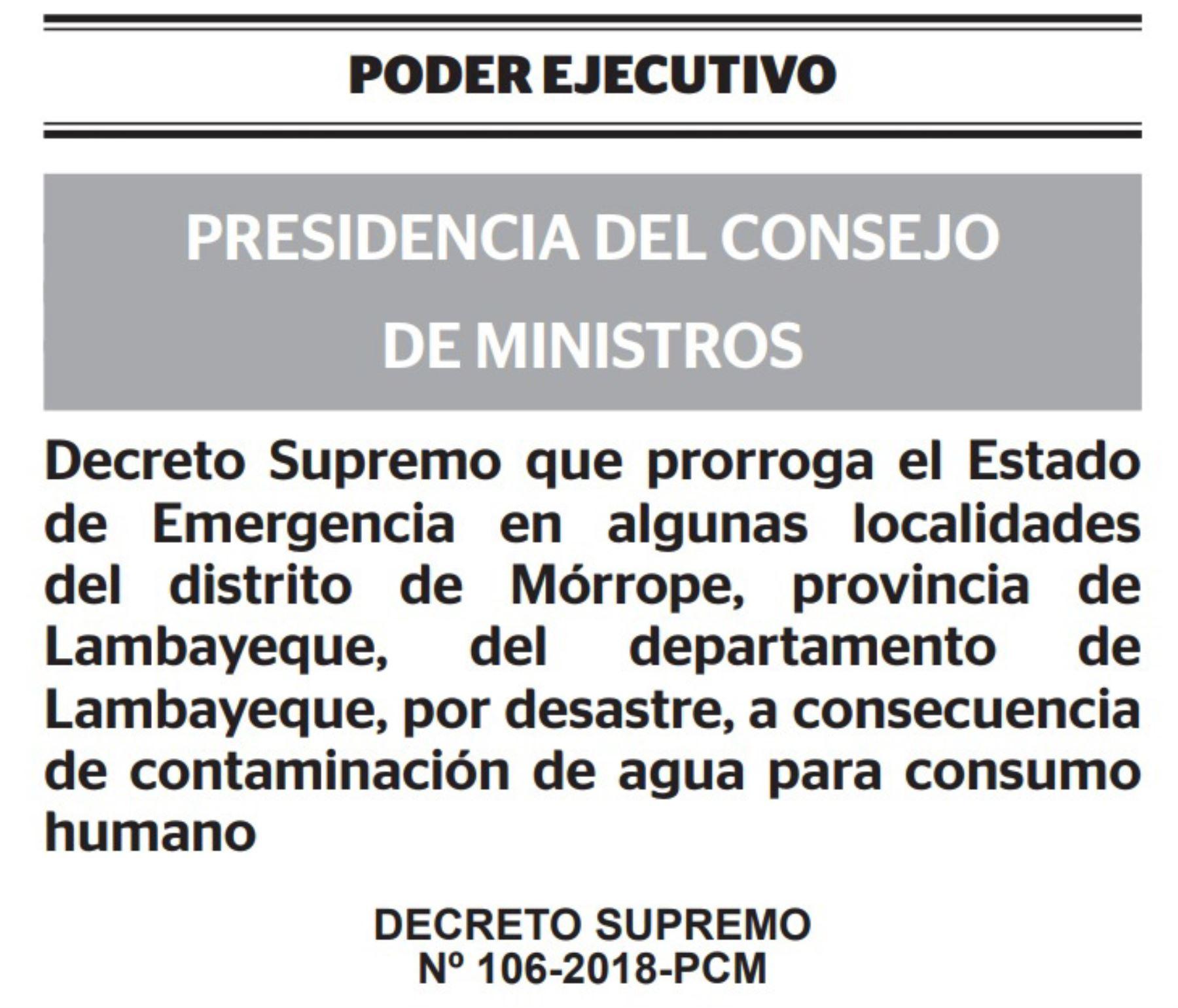 Decreto Supremo que amplía estado de emergencia en distritos de Mórrope, en la región Lambayeque, por contaminación de agua potable.