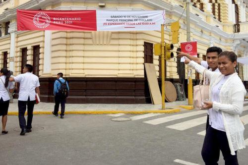 Todo listo en Chiclayo para el lanzamiento de la Agenda Bicentenario. ANDINA/Difusión