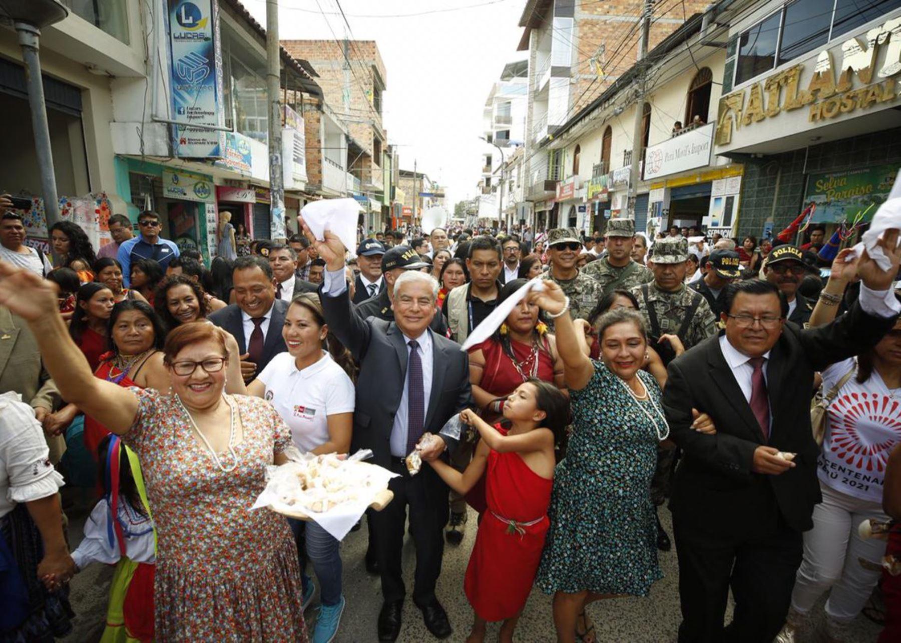 El jefe del Gabinete Ministerial, César Villanueva, encabezó en la ciudad de Moyobamba el lanzamiento de la Agenda Bicentenario. ANDINA/Difusión