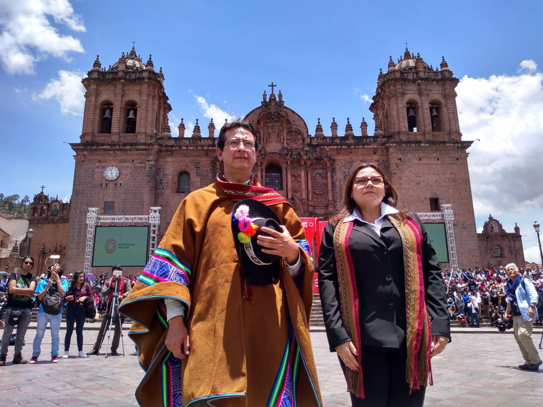 Ministra de la Mujer, Ana Mendieta, participó en el lanzamiento de la Agenda Bicentenario: todas y todos debemos comprometernos para ser un Perú con igualdad, sin violencia para las mujeres en el Cusco .Foto: ANDINA/Percy Hurtado Santillán