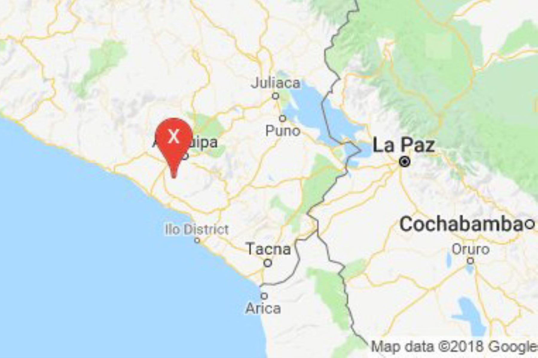 El IGP reportó un sismo de magnitud 4.1 a 39 kilometros al sureste del distrito de Vítor, en la región Arequipa.