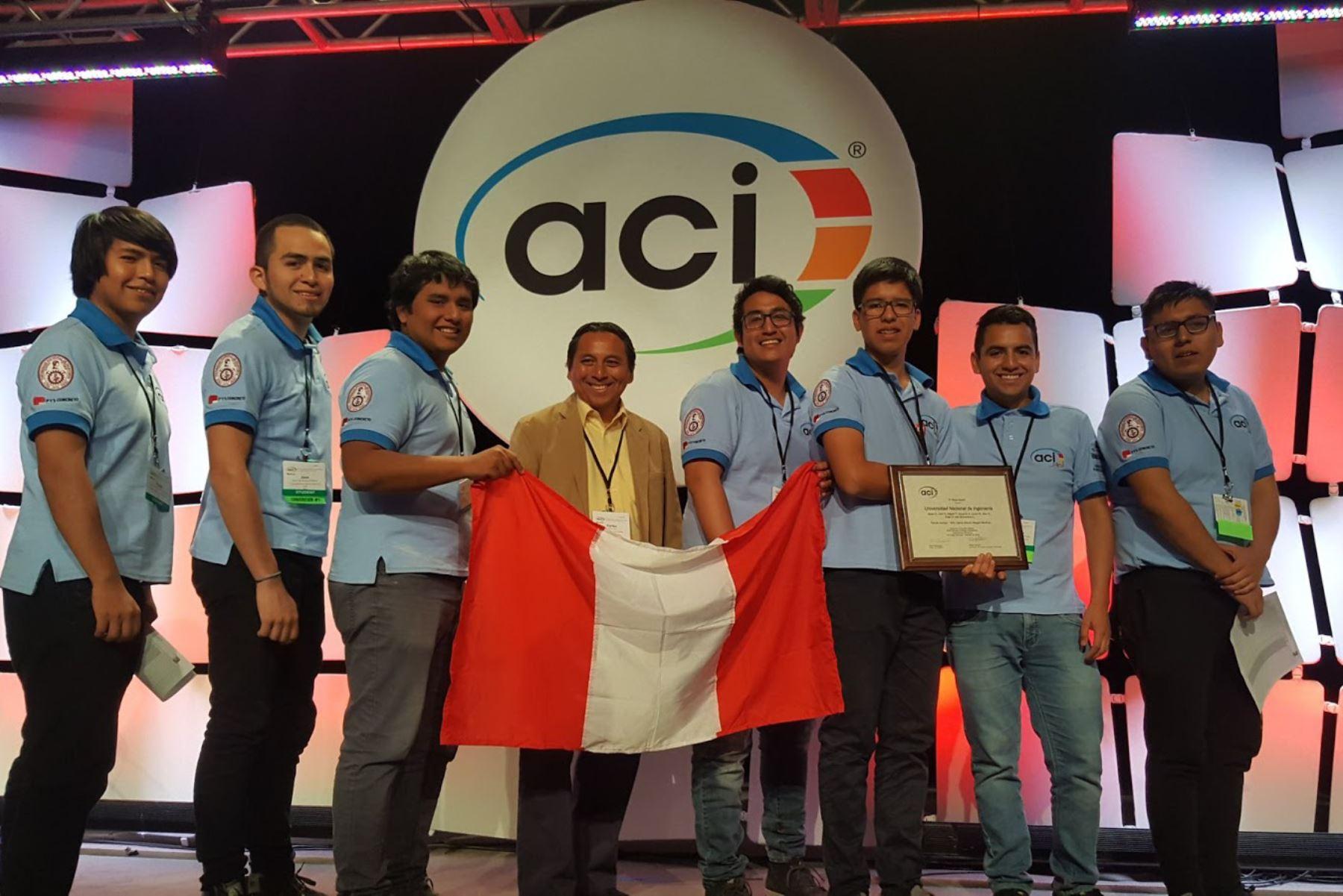 Equipo ganador de la UNI en Concurso Mundial del Concreto. Foto: UNI.