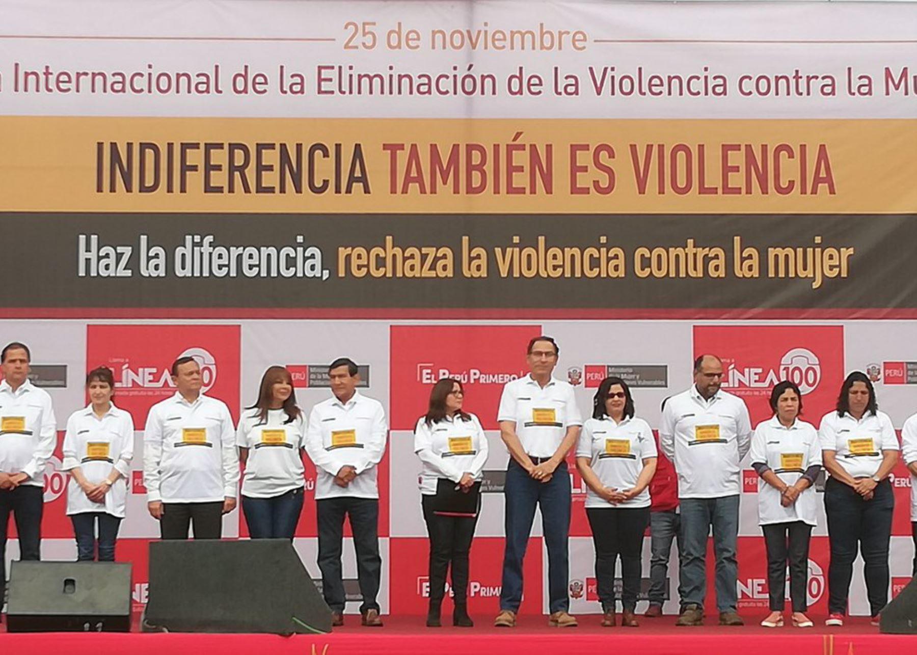 Presidente Martín Vizcarra encabeza ceremonia por el Día Internacional de Eliminación de la Violencia contra la Mujer