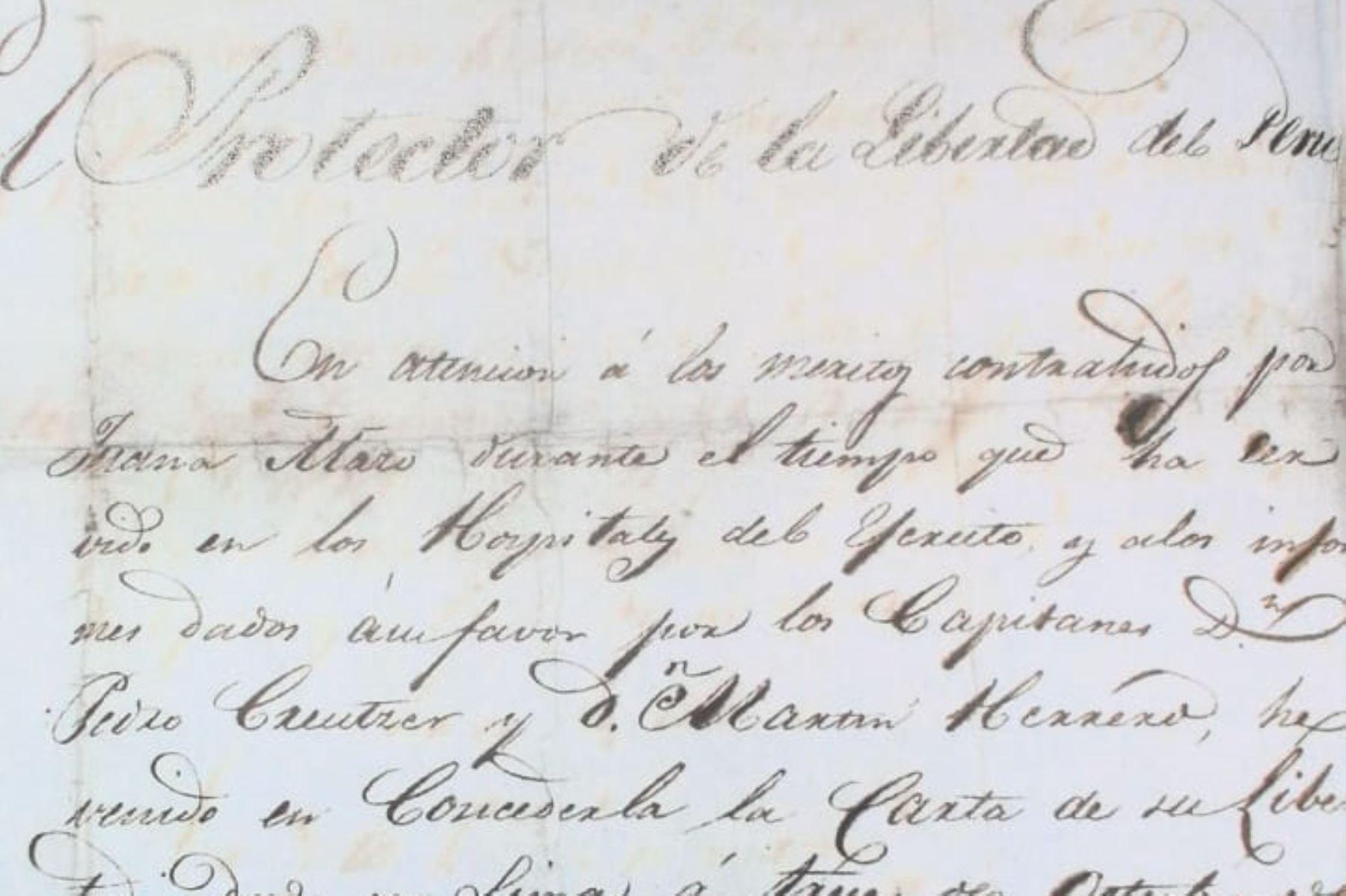 Manuscrito sustraído del Archivo General de la Nación. Foto: AGN
