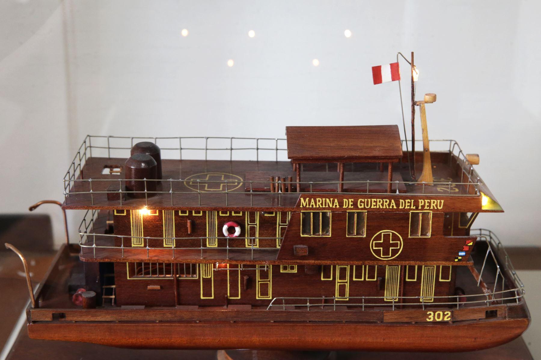 Museo Naval. La primera foto es la maqueta del BAP MORONA uno de los buques hospital que tiene la Armada en la selva y lo usamos para hacer acción cívica. Foto: ANDINA/Melina Mejía