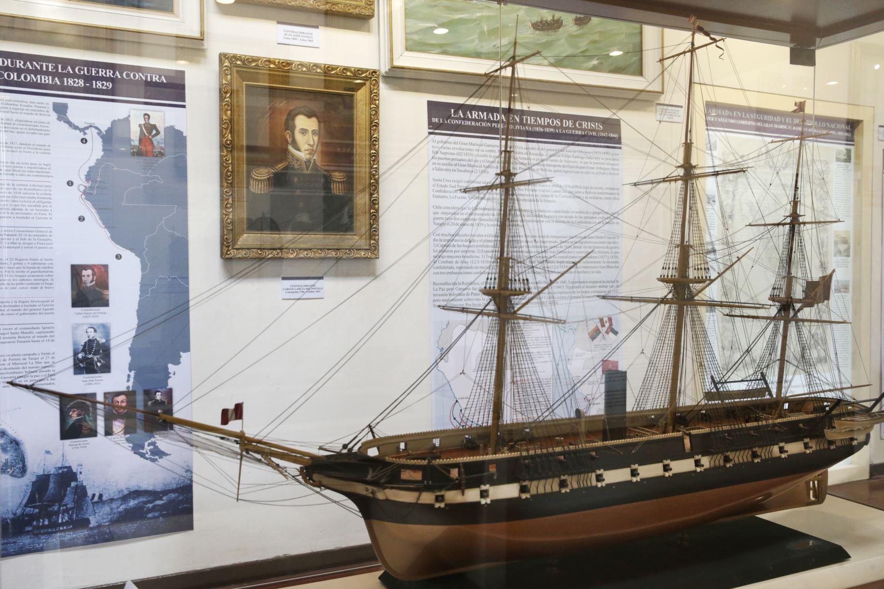 Museo Naval. Maqueta de la fragata Apurimac, de propulsión mixta (vela y vapor con hélice) construida en 1854. Foto: ANDINA/Melina Mejía