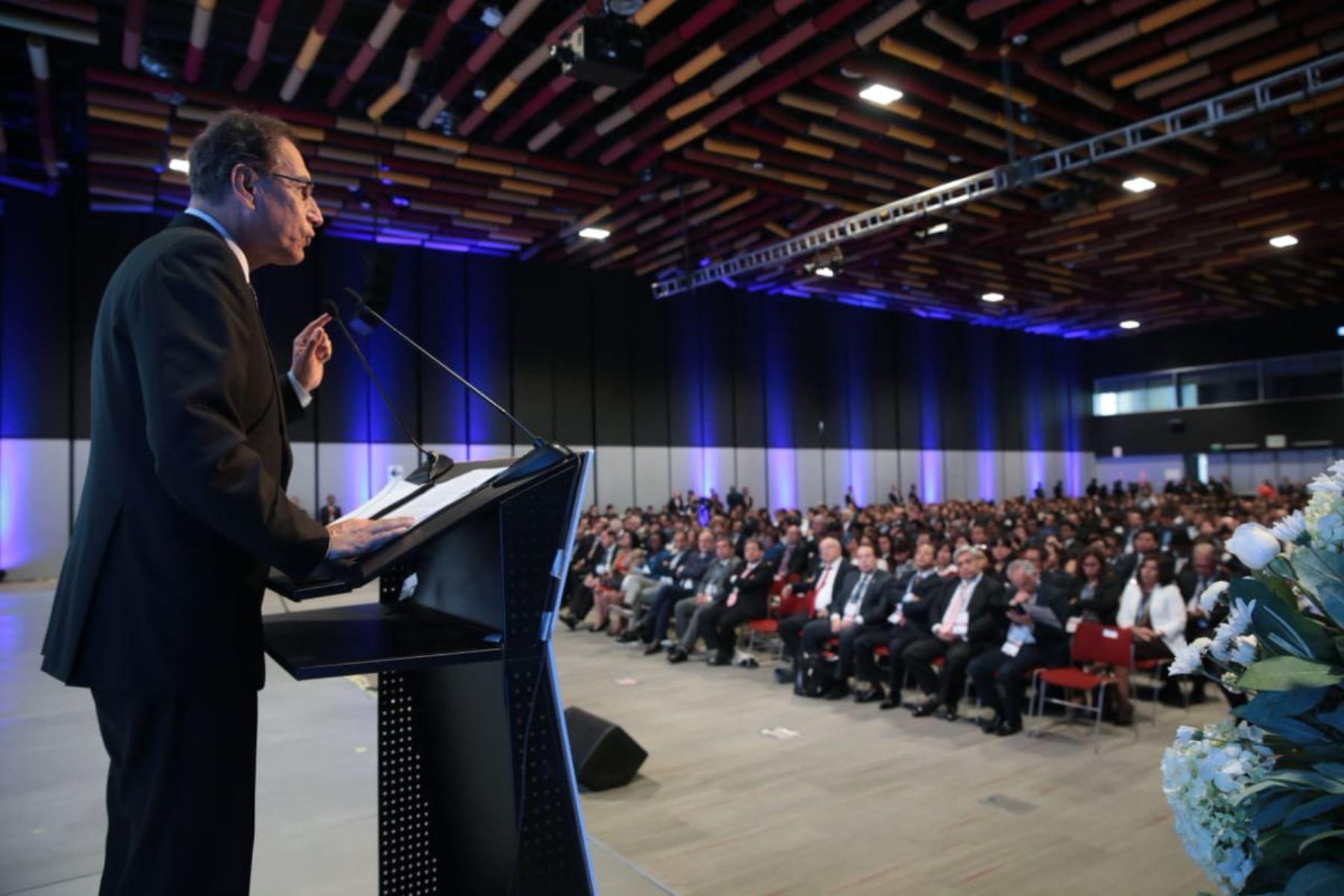 El presidente de la República, Martin Vizcarra, asiste a la inauguración de la Conferencia Anual Internacional por la Integridad CAII 2018, que organiza la Contraloría General de la República.Foto: ANDINA/Prensa Presidencia