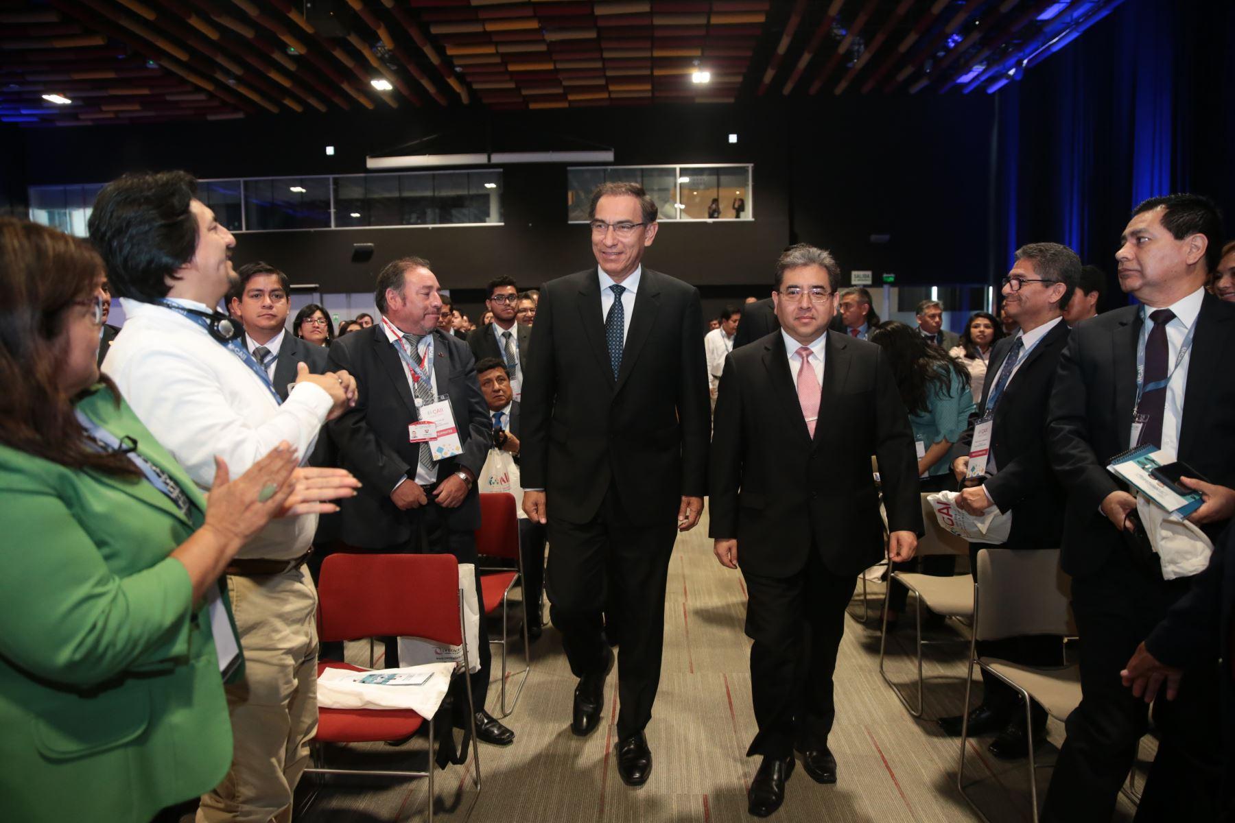 Jefe del Estado, Martín Vizcarra, inauguró Conferencia Anual Internacional por la Integridad, organizado por la Contraloría de la República.Foto: ANDINA/Juan Carlos Guzman/Prensa Presidencia