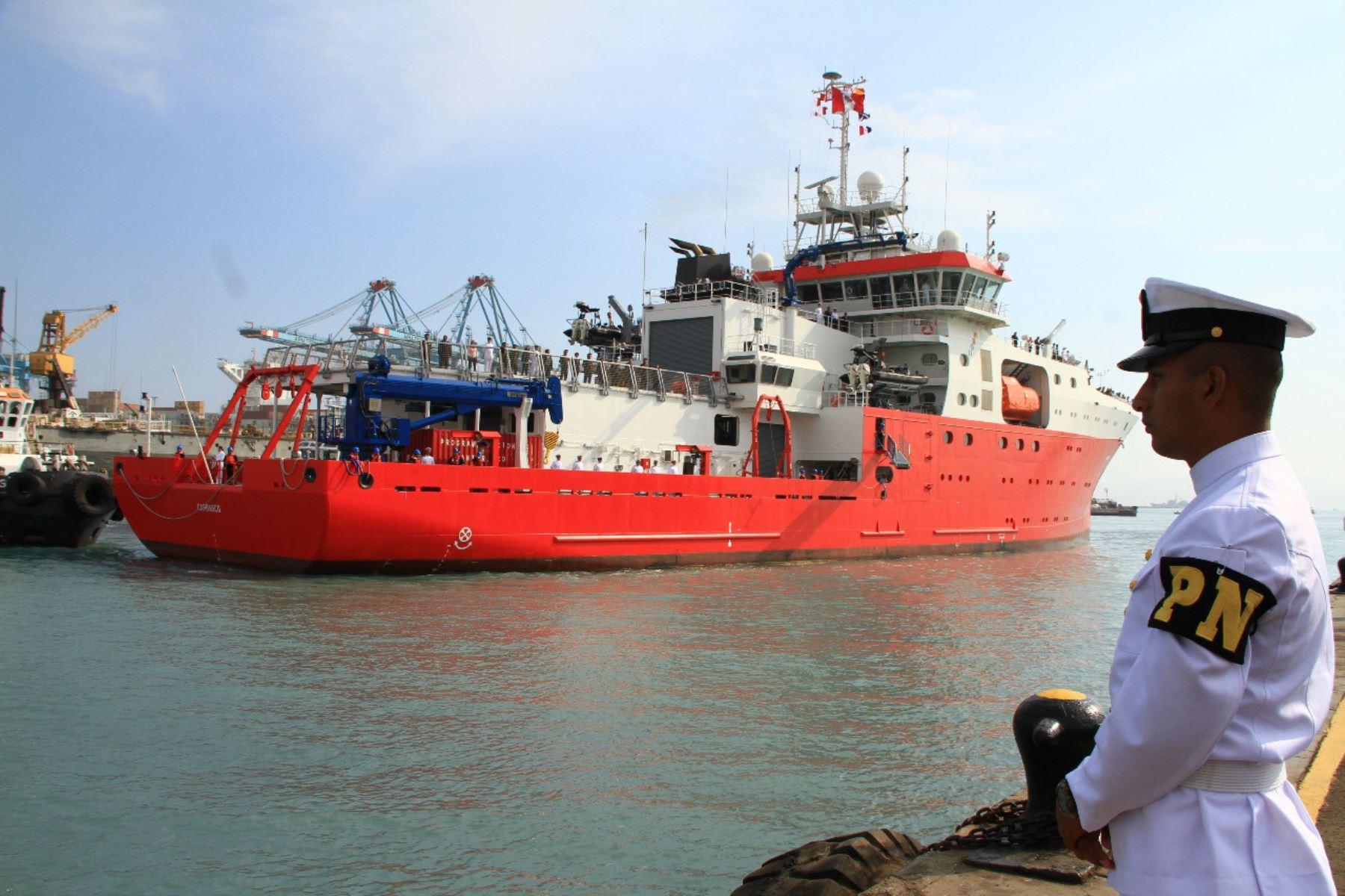 BAP Carrasco parte mañana viernes del puerto del Callao hacia la Antártida. Foto: Marina de Guerra
