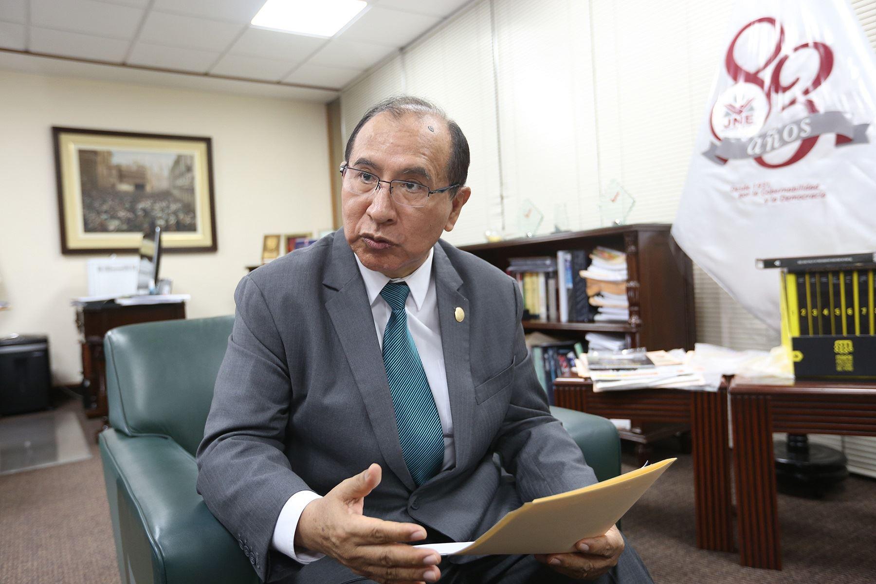 Víctor Ticona, presidente del Jurado Nacional de Elecciones, en entrevista con el Diario El Peruano y la Agencia Andina.