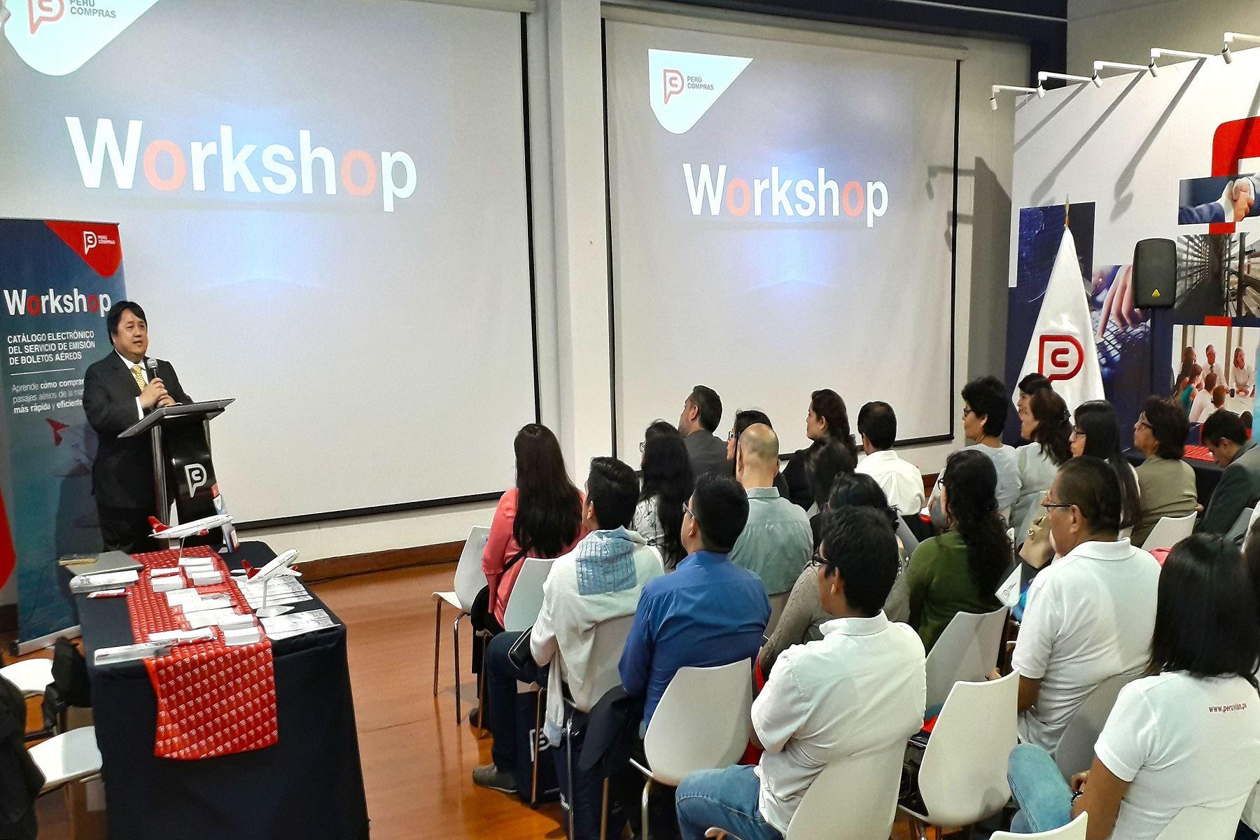 Exposición de los beneficios del catálogo electrónico de Perú Compras.