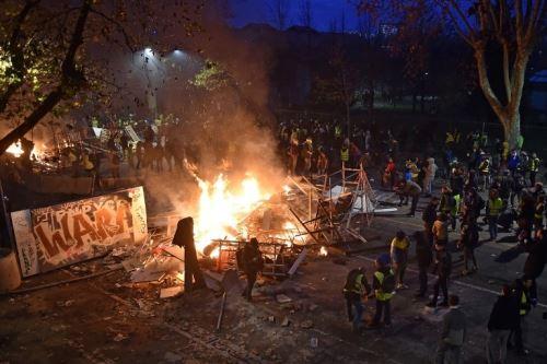 Protesta en París, Francia, protagonizadas por los chalecos amarillos.