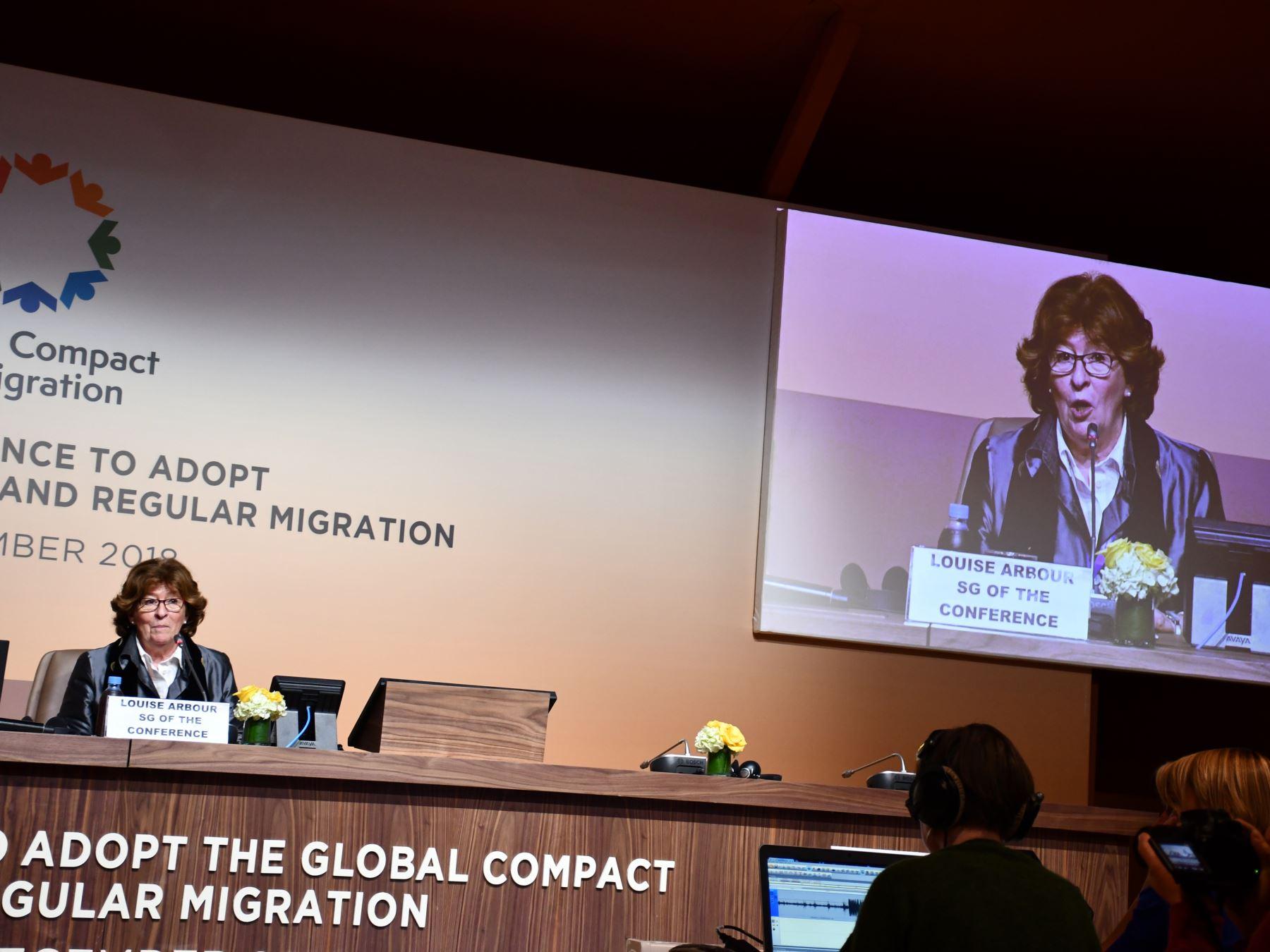 La secretaria general de la conferencia de la ONU sobre el Pacto Global para la migración regular, segura y ordenada, la canadiense Louise Arbour. Foto Fabián Vallas.