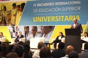 El ministro de Educación, Daniel Alfaro, inauguró el Encuentro Internacional de Educación Superior Universitaria, en el Centro de Convenciones de Lima. Foto: ANDINA/Difusión.