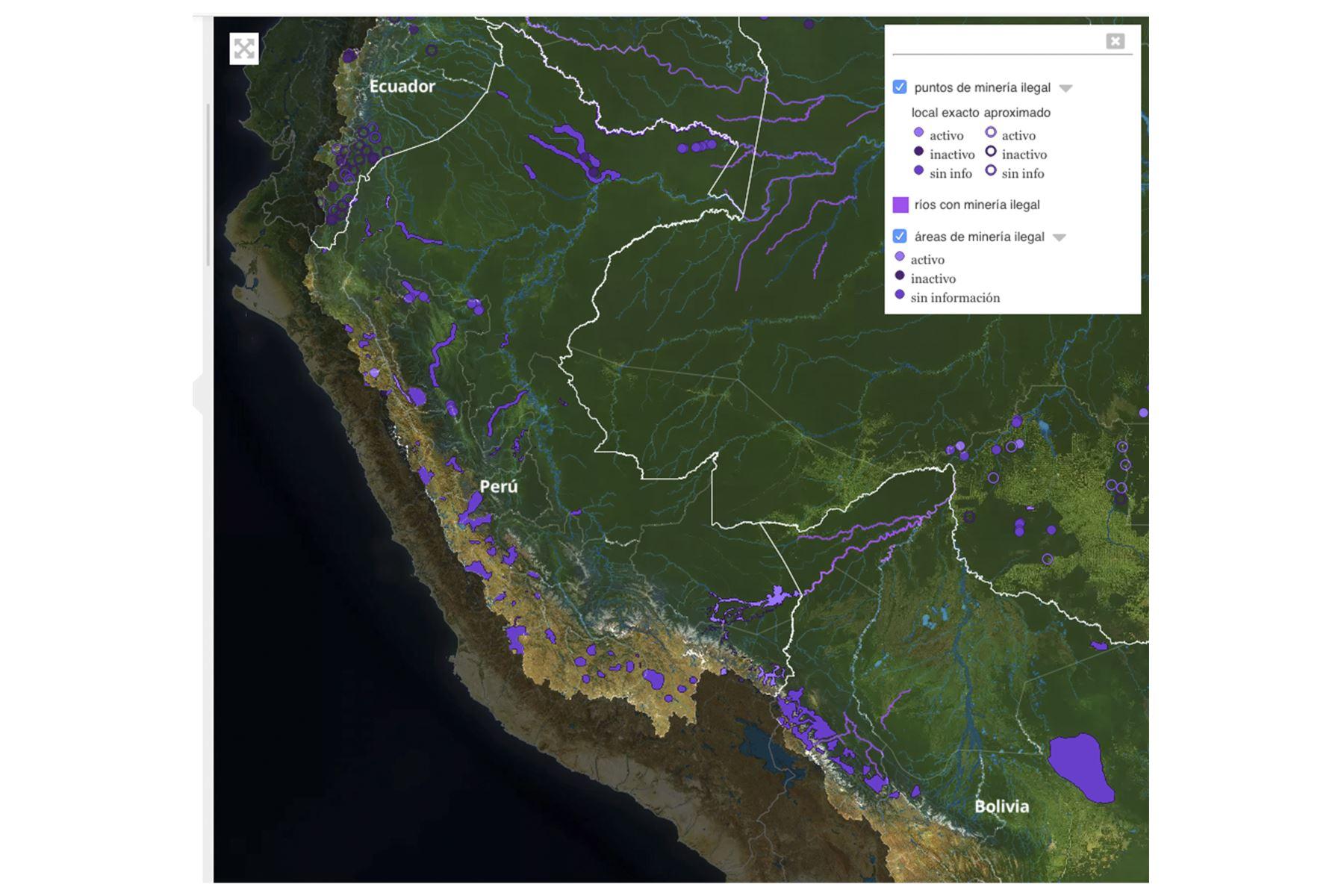 Estudio identificó 2,312 puntos y 245 áreas de extracción no autorizada de minerales como oro, diamantes y coltán en seis países con ecosistemas amazónicos, entre ellos el Perú. FOTO: La Amazonía saqueada