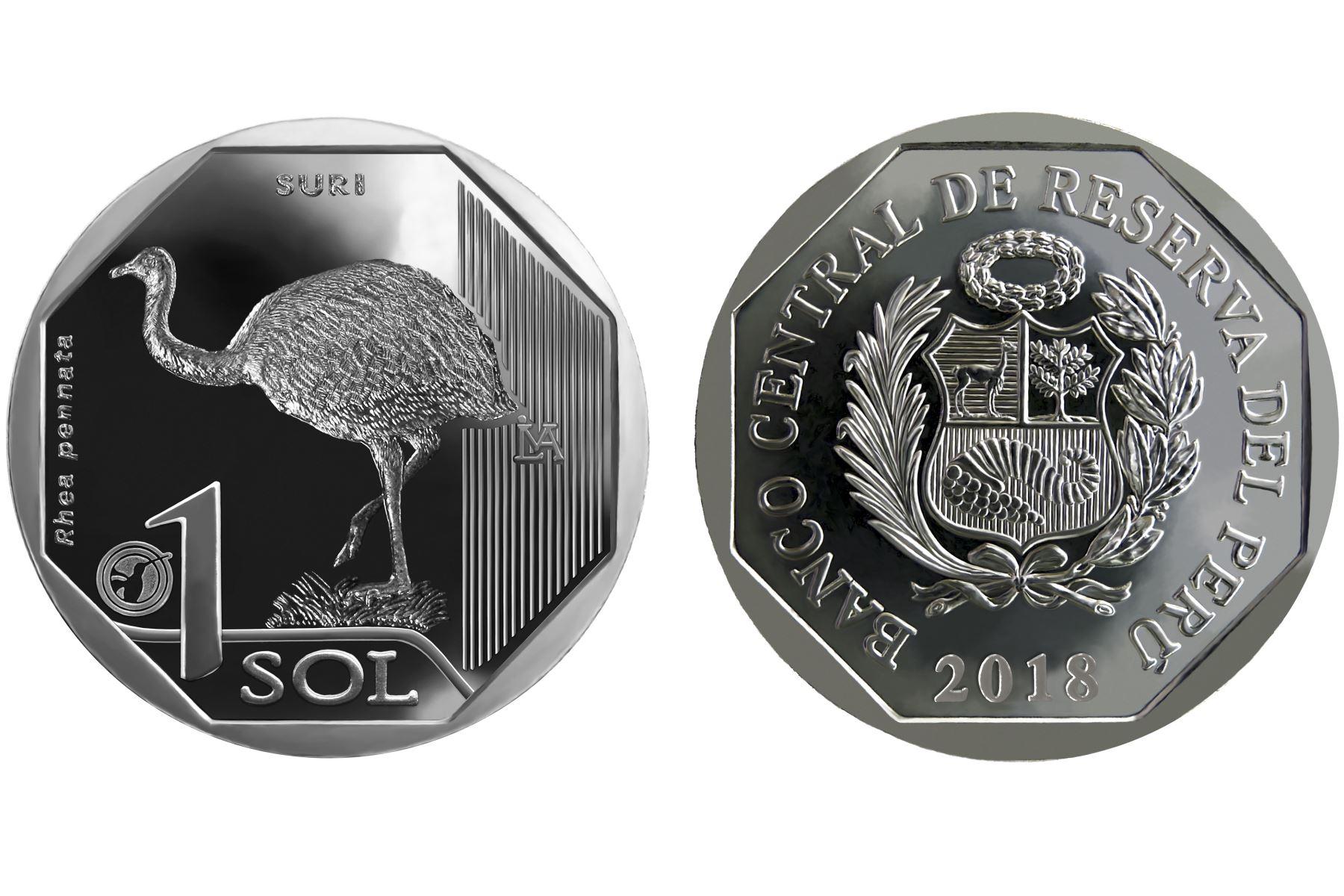 Nueva moneda de S/ 1 alusiva al Suri. ANDINA/Difusión