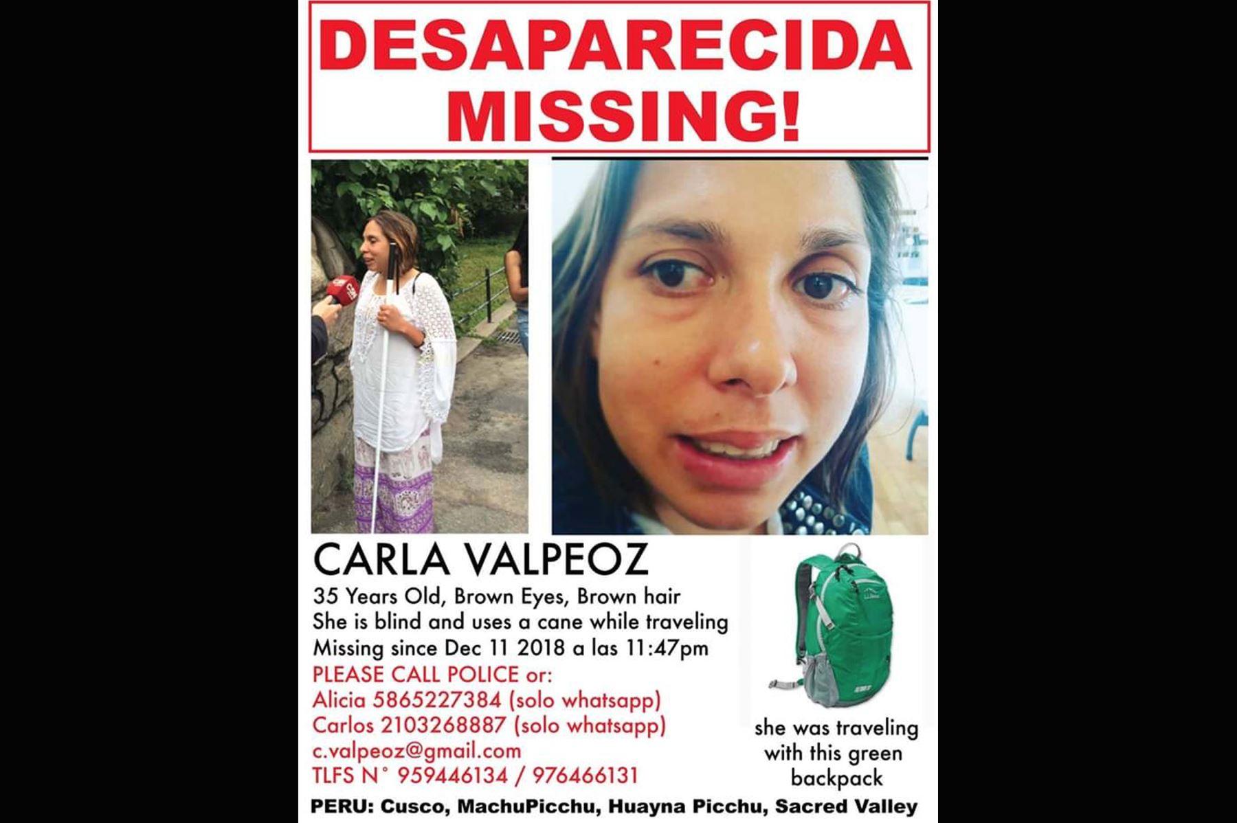 Policía busca a la turista estadounidense Carla Valpeoz (35), reportada desaparecida en la región Cusco. ANDINA/Difusión