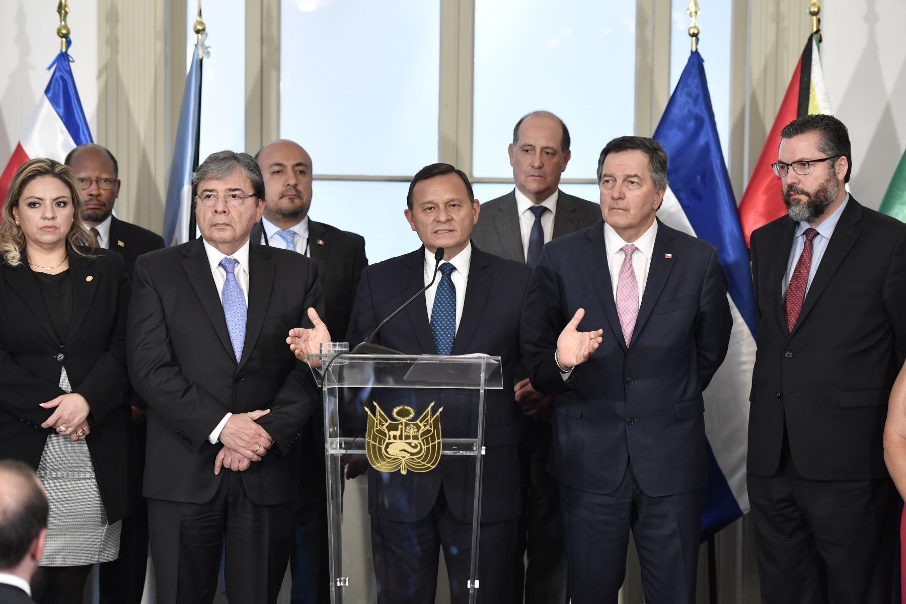 04/01/2019   El Canciller Néstor Popolizio presidió la Reunión de Ministros de Relaciones Exteriores del Grupo de Lima realizada en el Palacio de Torre Tagle. Foto: ANDINA/MRE
