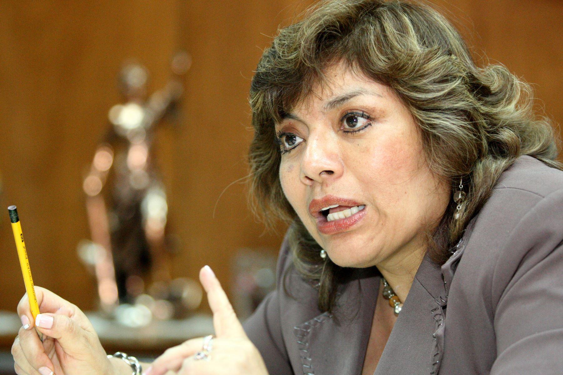 Magistrada suprema Zoraida Ávalos Rivera asumió interinamente el cargo de fiscal de la Nación.Foto:ANDINA/Archivo