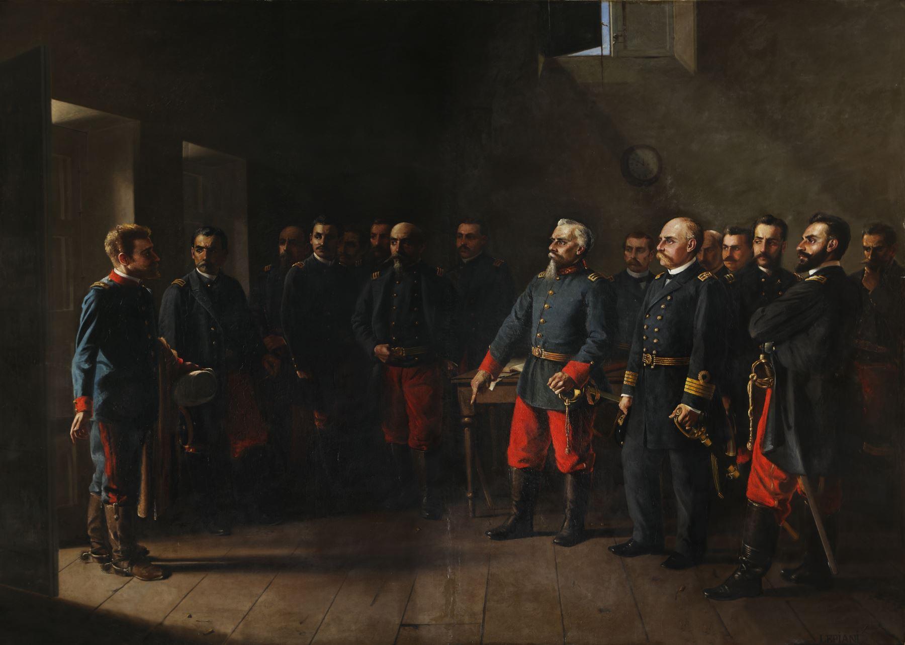 """Francisco Bolognesi y su plana de oficiales representados en """"La respuesta"""" del pintor, Juan Lepiani. Foto: Cortesía"""