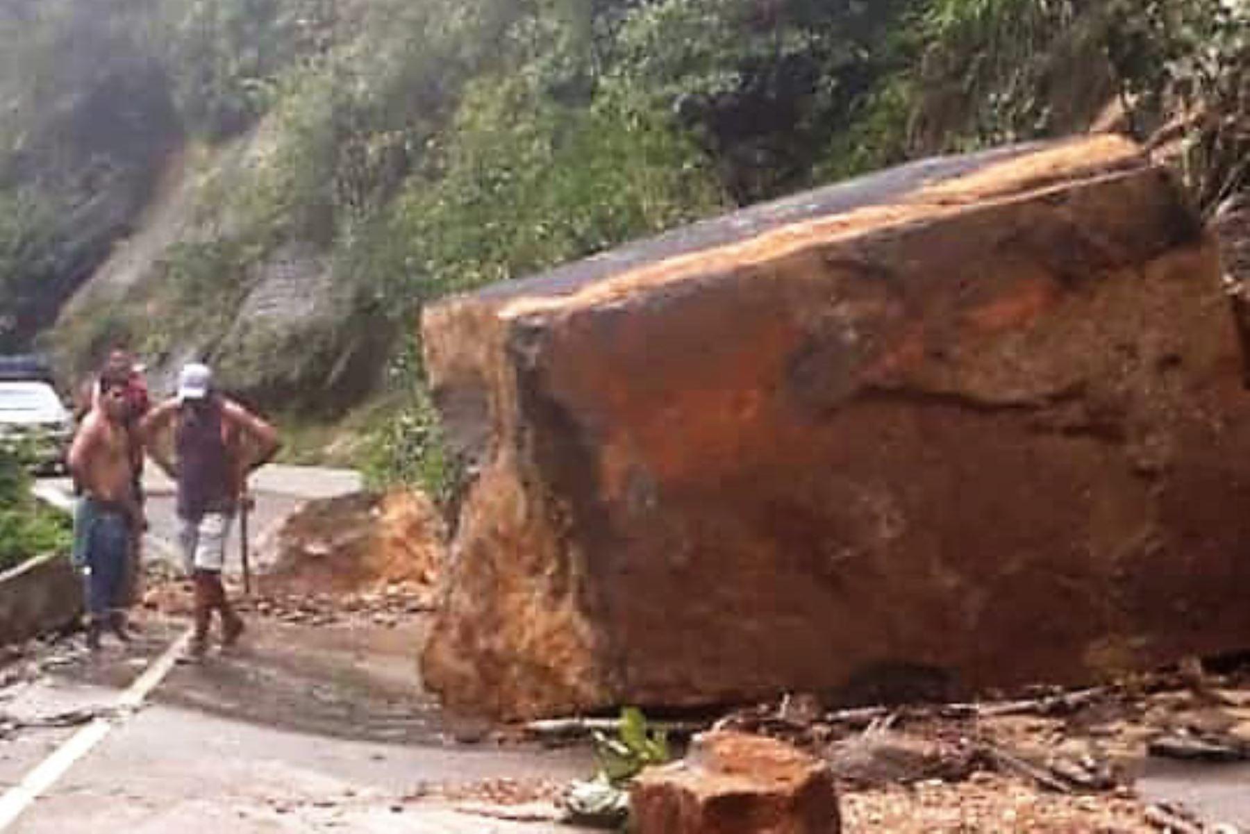 Lluvias constantes provocan derrumbes en la vía Tarapoto-Yurimaguas.Foto:  ANDINA.
