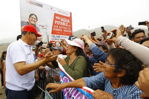 Presidente Vizcarra da inicio a obras de agua en Jicamarca